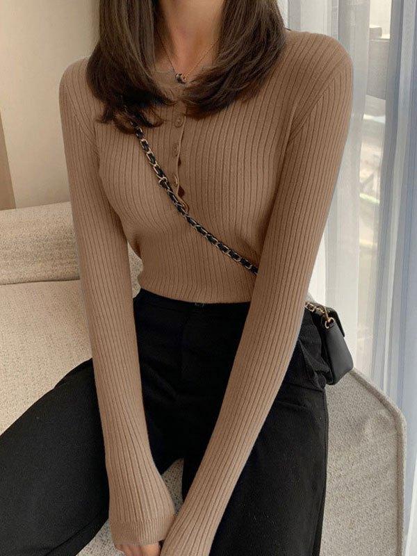 Buttoned Rib Knit Sweater - Khaki ONE SIZE