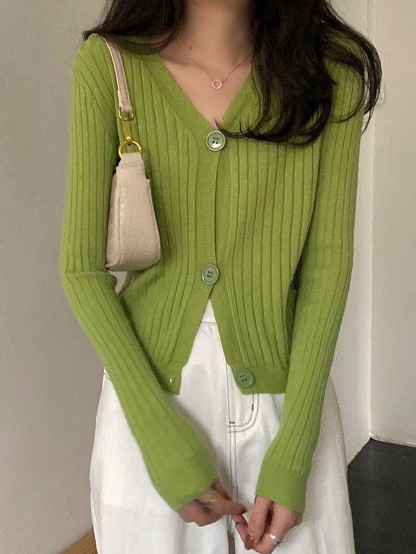 V Neck Cropped Rib Knit Cardigan - Green ONE SIZE