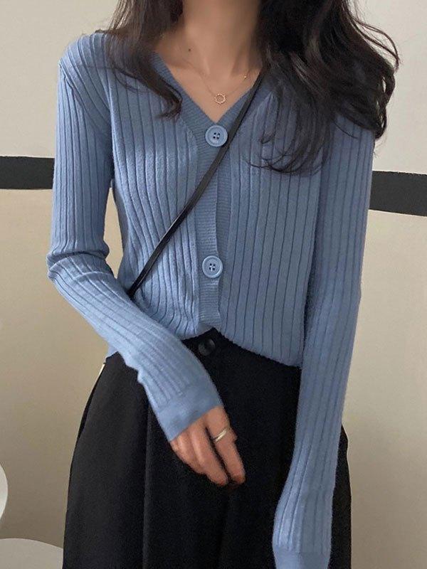 V Neck Cropped Rib Knit Cardigan - Blue ONE SIZE
