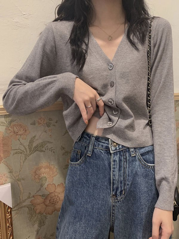 Button Front Crop Knit Cardigan - Gray ONE SIZE
