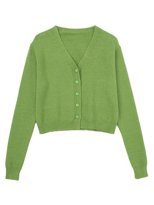 Button Front Crop Knit Cardigan - Green ONE SIZE