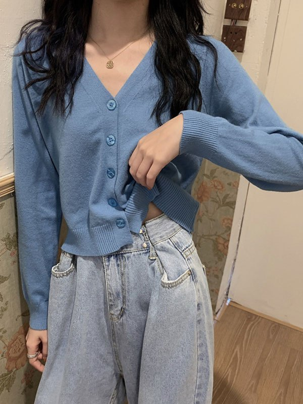Button Front Crop Knit Cardigan - Blue ONE SIZE