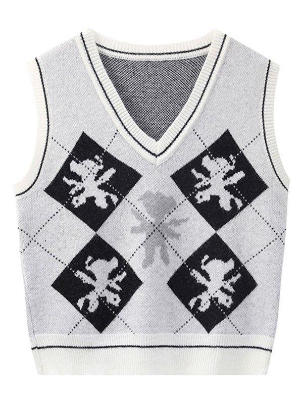 V Neck Argyle Pattern Sweater Vest - White ONE SIZE