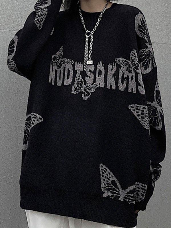 Oversized Butterfly Knit Sweater - Black L