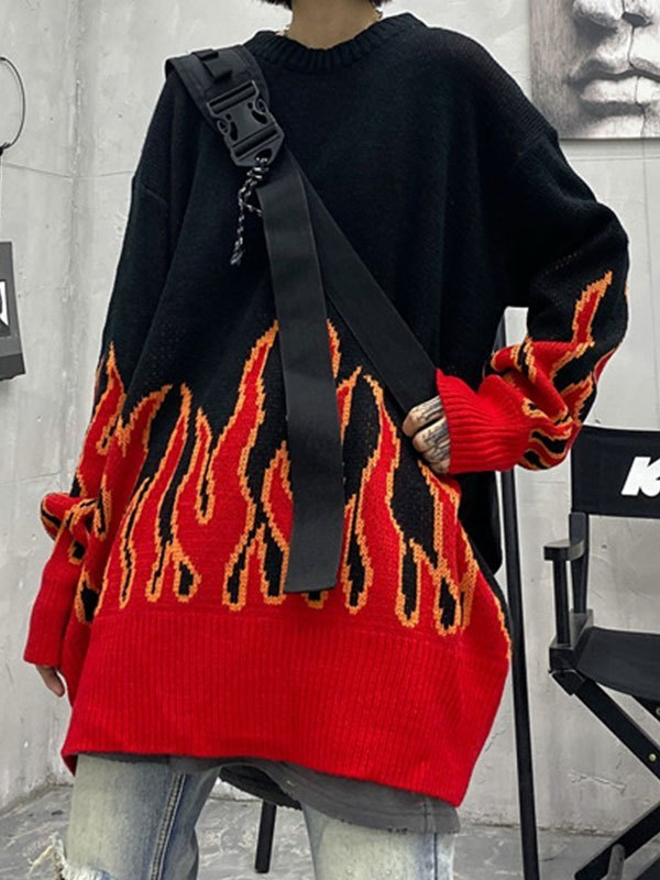 Flame Oversized Knit Sweater - Red ONE SIZE