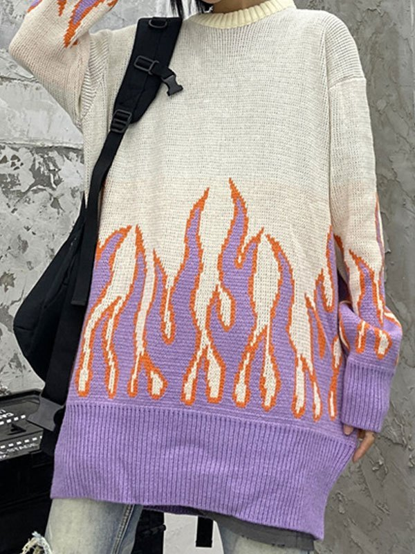 Flame Oversized Knit Sweater - Lilac ONE SIZE