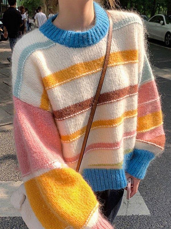 Multi Stripe Pullover Knit Sweater - Apricot L