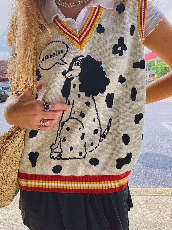 V Neck Dalmatian Sweater Vest - Beige S