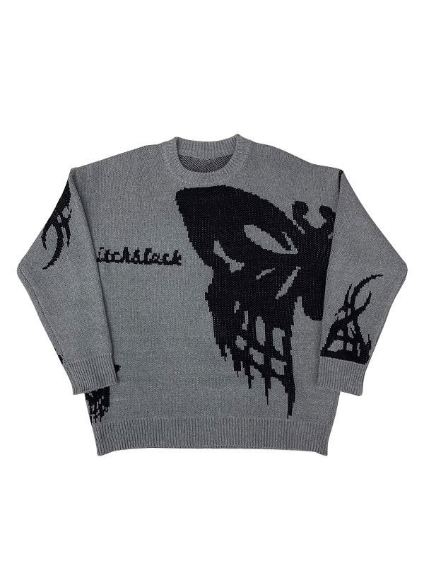 Oversized Butterfly Crew Sweater - Gray L
