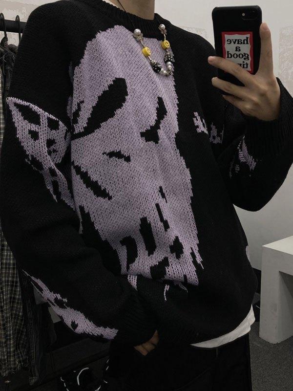 Oversized Butterfly Crew Sweater - Black L