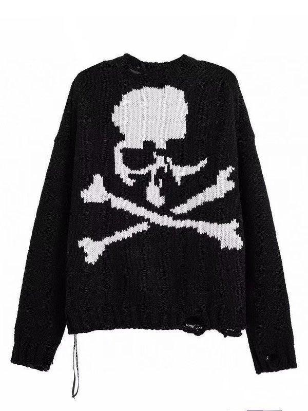 Oversized Distressed Skull Sweater - Black S