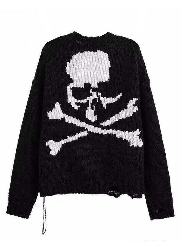 Oversized Distressed Skull Sweater - Black L