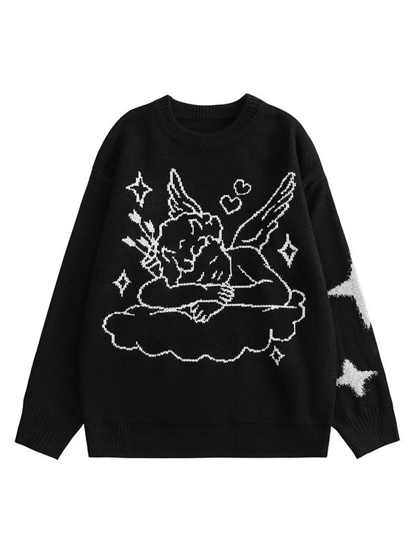 Angel Jacquard Knit Sweater - Black XL