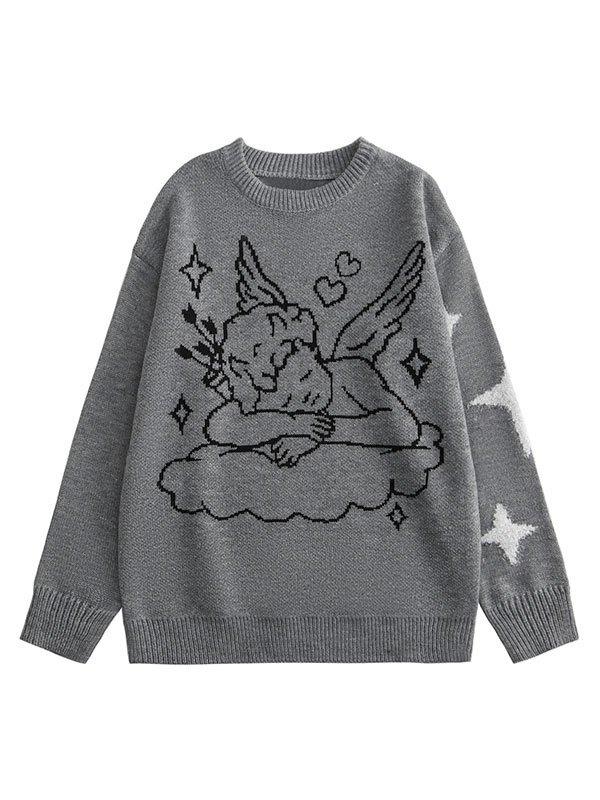 Angel Jacquard Knit Sweater - Gray M