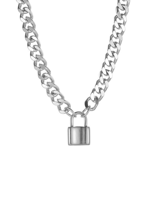 Lock Pendant Necklace - Silver ONE SIZE
