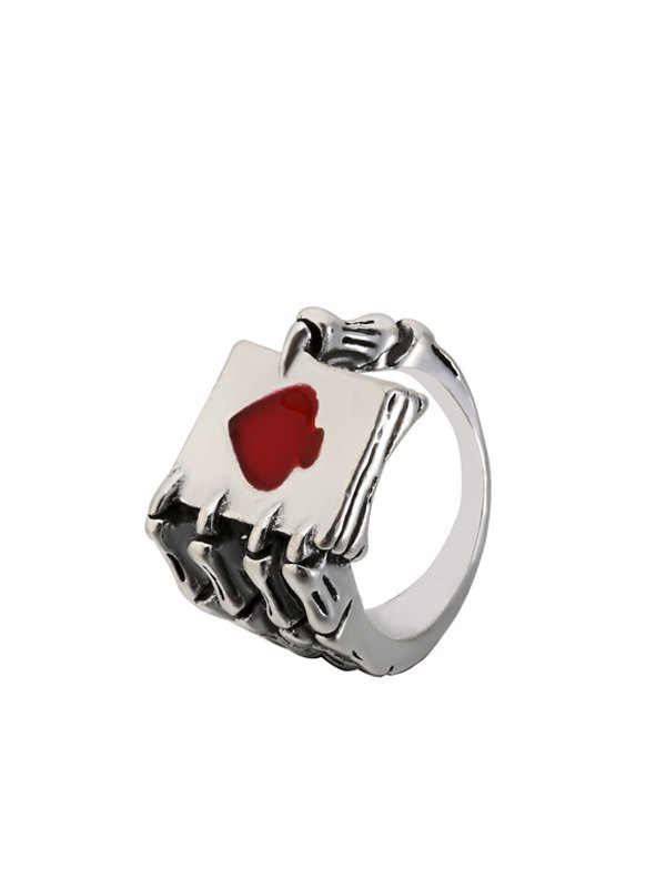 Skeleton Hand Poker Ring - Red ONE SIZE