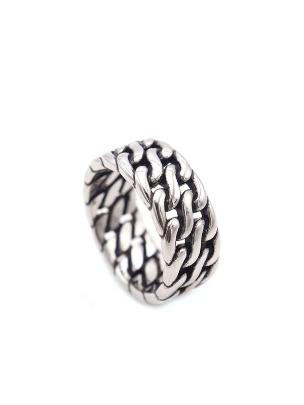 Weave Chain Ring - Silver ONE SIZE