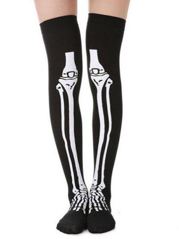 Halloween Skeleton Print Tights - Black ONE SIZE