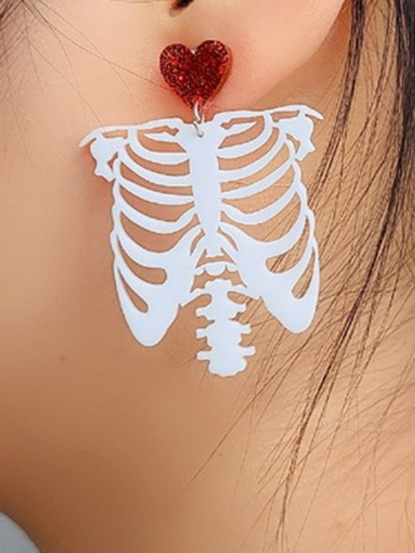 Halloween White Skeleton Earrings - White ONE SIZE