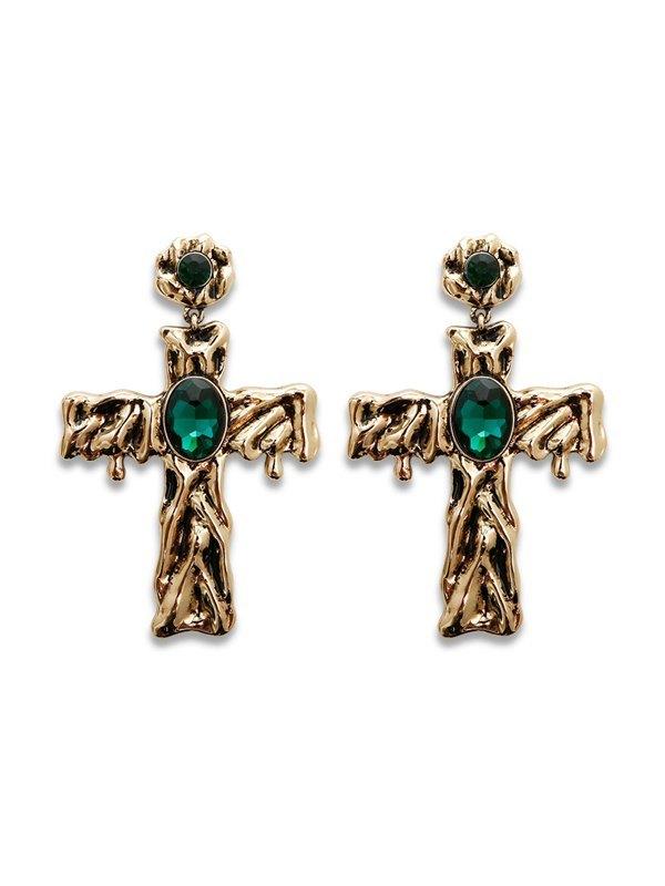 Halloween Rhinestone Cross Earrings - Golden ONE SIZE