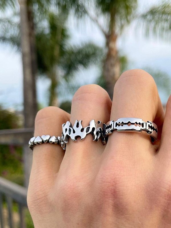 3Pcs Flame Heart-shaped Ring - Silver ONE SIZE