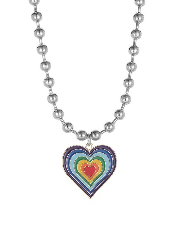 Gradient Heart Necklace - Silver ONE SIZE