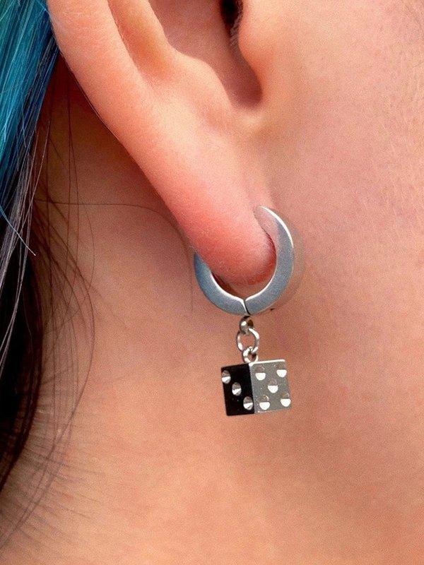 Dice Earrings - Silver ONE SIZE