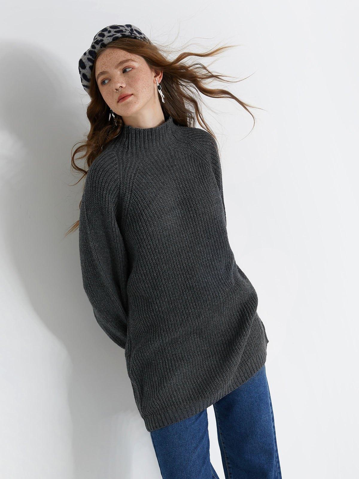Solid Rib-Knit Dress - Black L