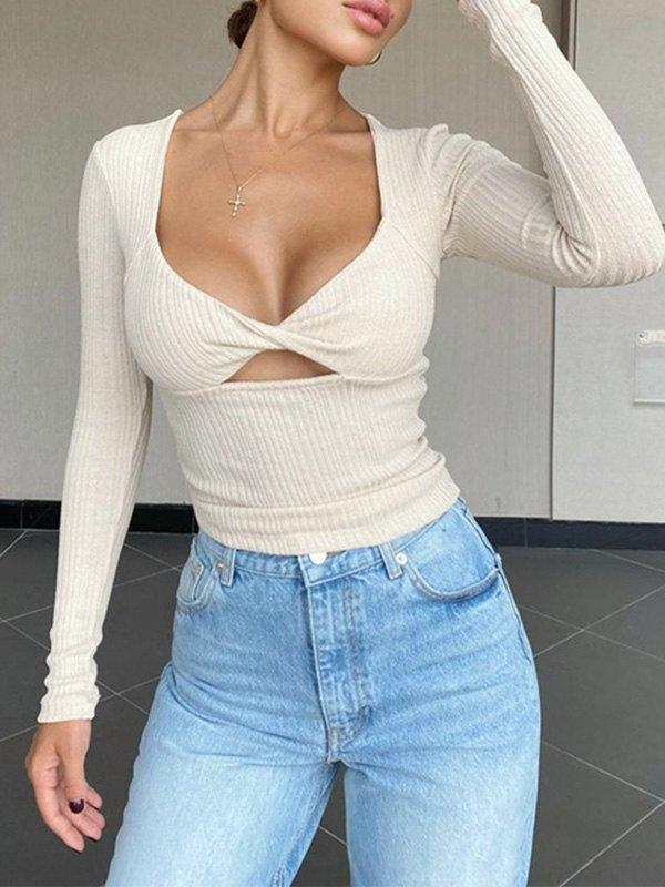 Twist Cutout Long Sleeve Crop Top - White M