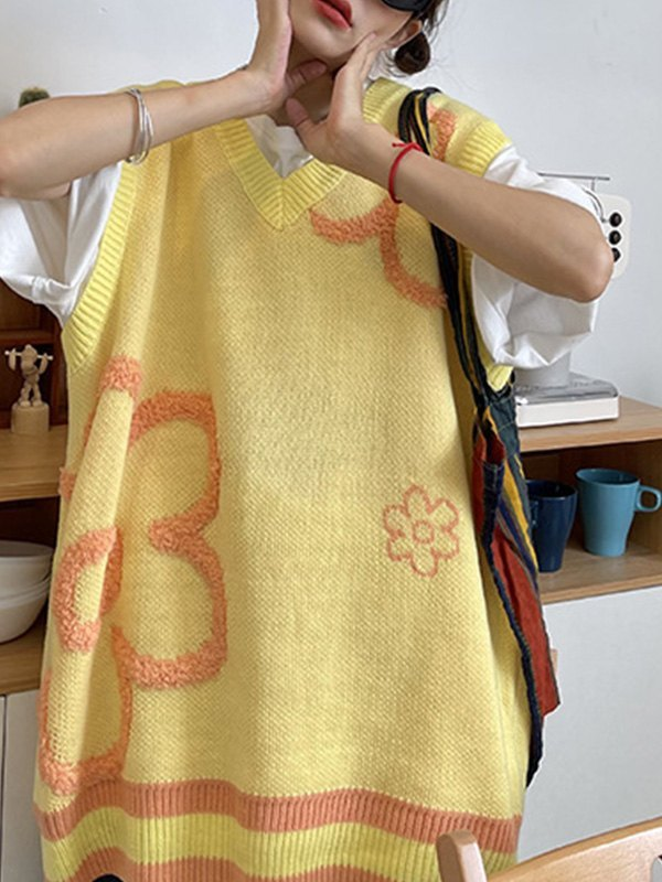 V Neck Floral Jacquard Sweater Vest - Yellow ONE SIZE