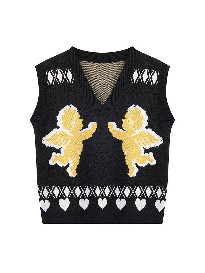 V Neck Cupid Jacquard Sweater Vest - Black ONE SIZE