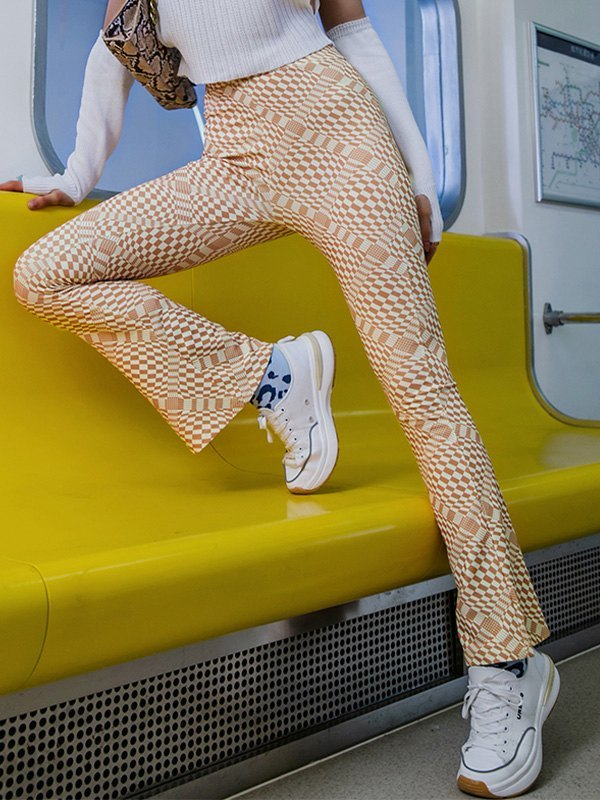 Checkered Print Flare Leg Pants - As The Picture S