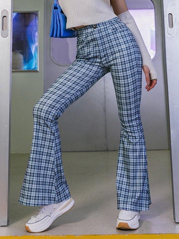 Checkered Print Tailored Flare Leg Pants - Blue M