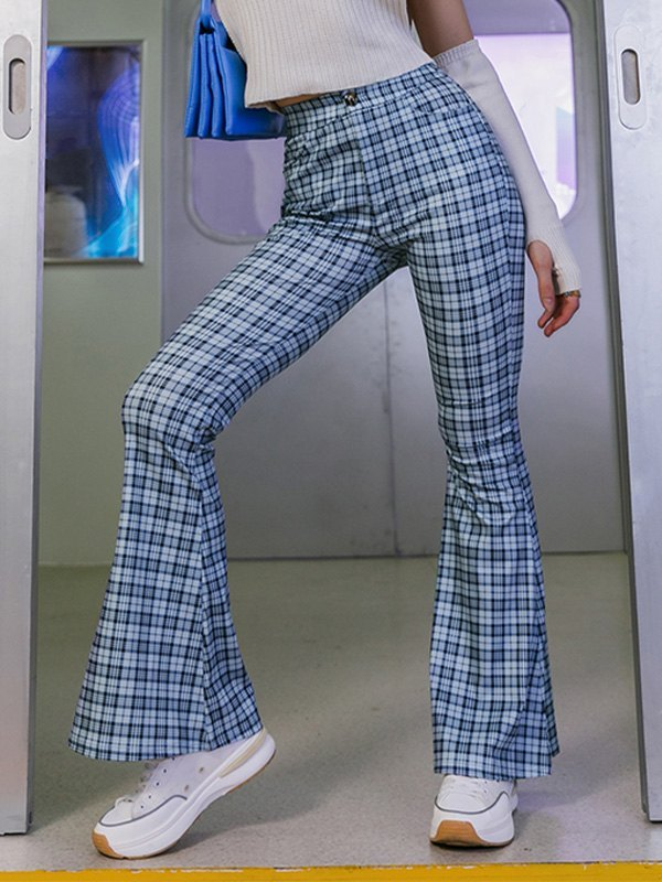 Checkered Print Tailored Flare Leg Pants - Blue S