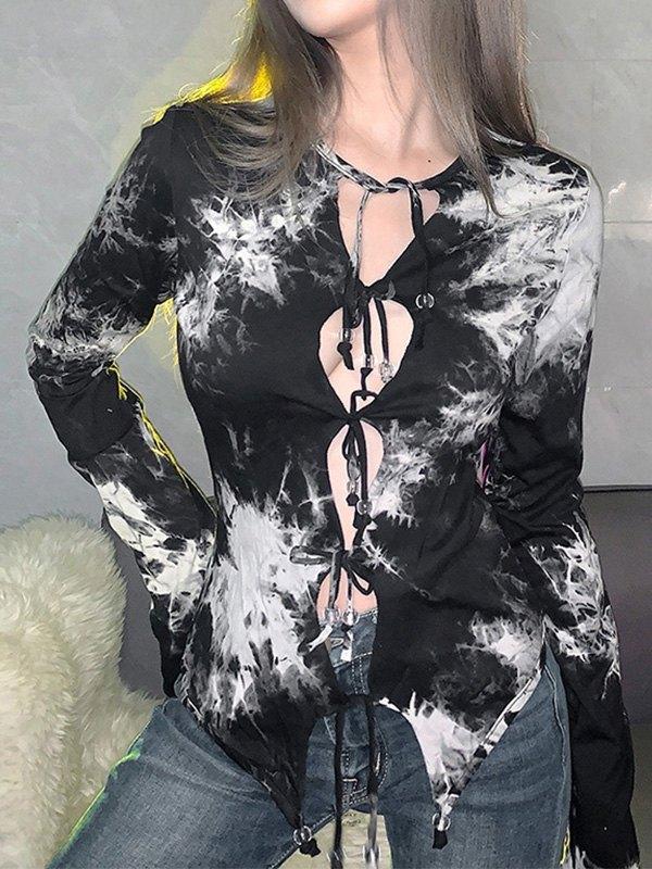 Lace Up Tie Dye Long Sleeve Tee - Black M