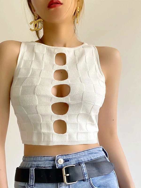 Cutout Knitted Crop Tank Top - White S