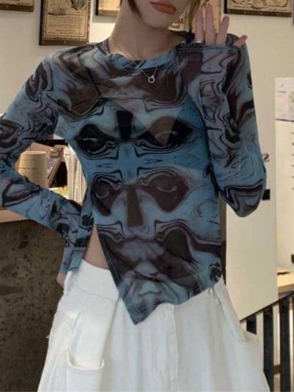 Split Long Sleeve Printed Tee - Blue S