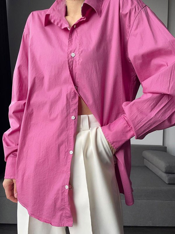 Button Front Long Sleeve Blouse - Pink S
