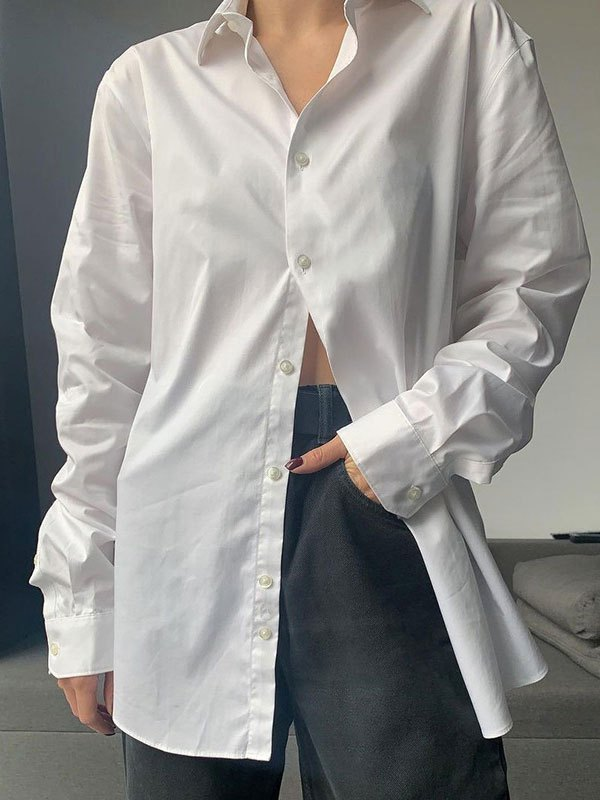 Button Front Long Sleeve Blouse - White M