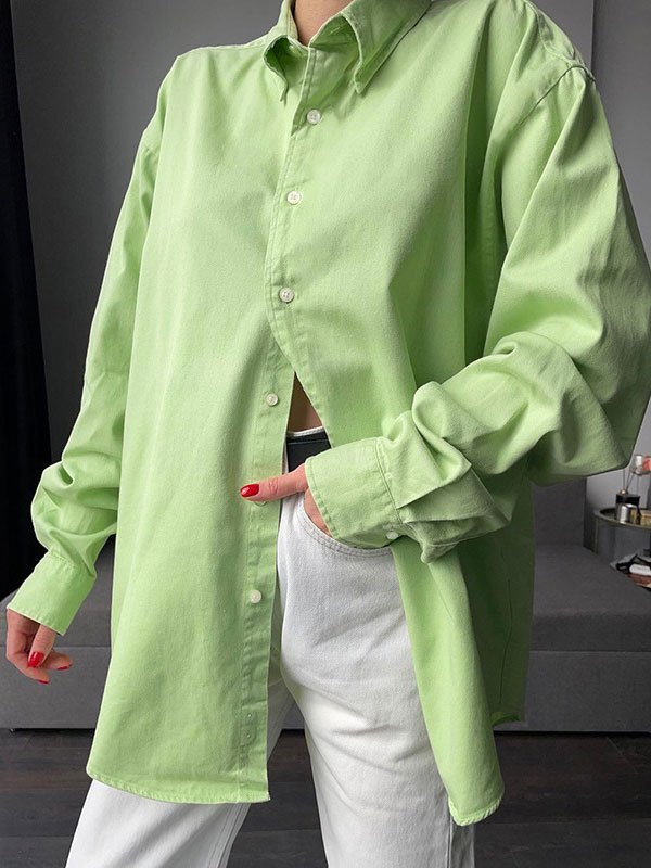 Button Front Long Sleeve Blouse - Green M
