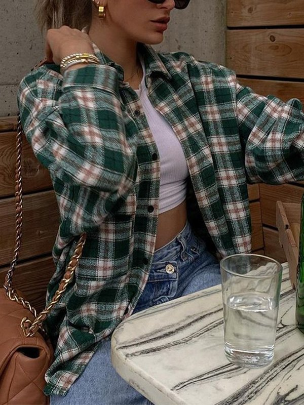 Oversized Long Sleeve Checkered Blouse - Green L