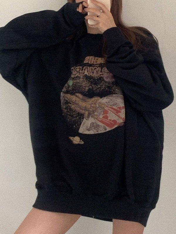 Oversized Cosmic Wars Printed Sweatshirt - Black ONE SIZE