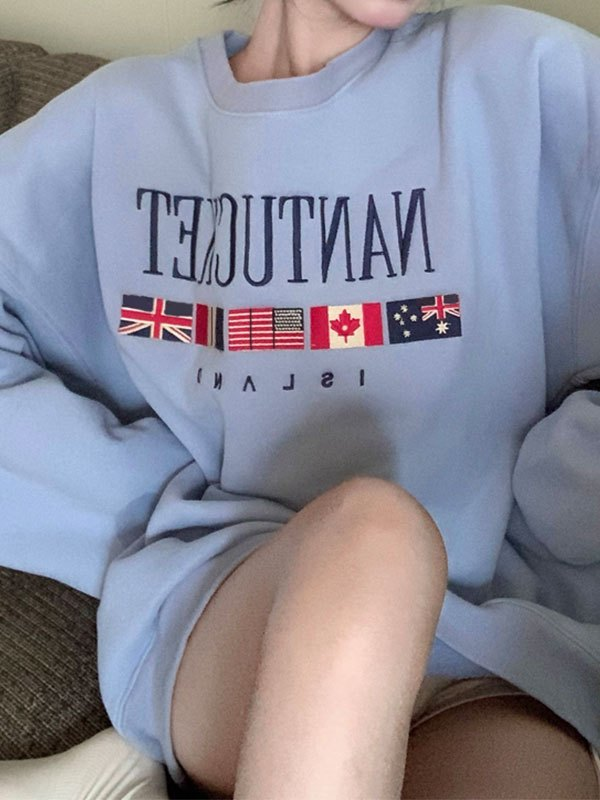 Vintage Flag Oversized Sweatshirt - As The Picture ONE SIZE