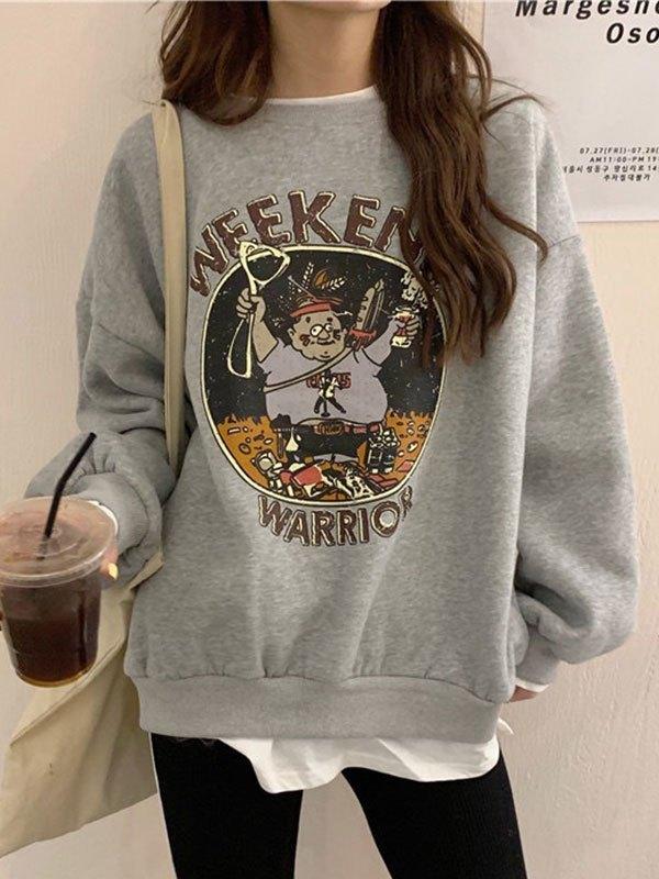 Oversize Patchwork Printed Sweatshirt - Gray XL