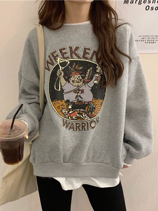 Oversize Patchwork Printed Sweatshirt - Gray L