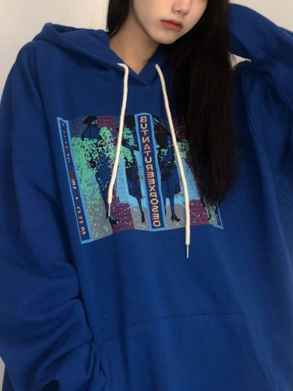 Oversize Mosaic Social Graphic Hoodie - Blue 2XL