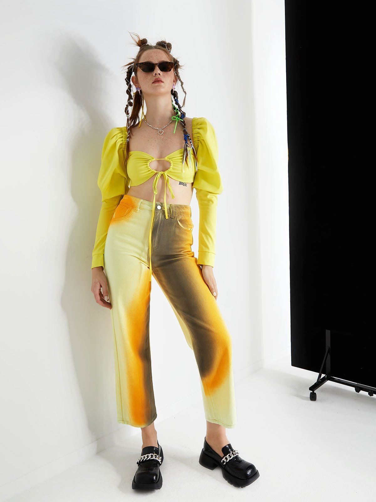 High Waisted Gradient Pants - Yellow M