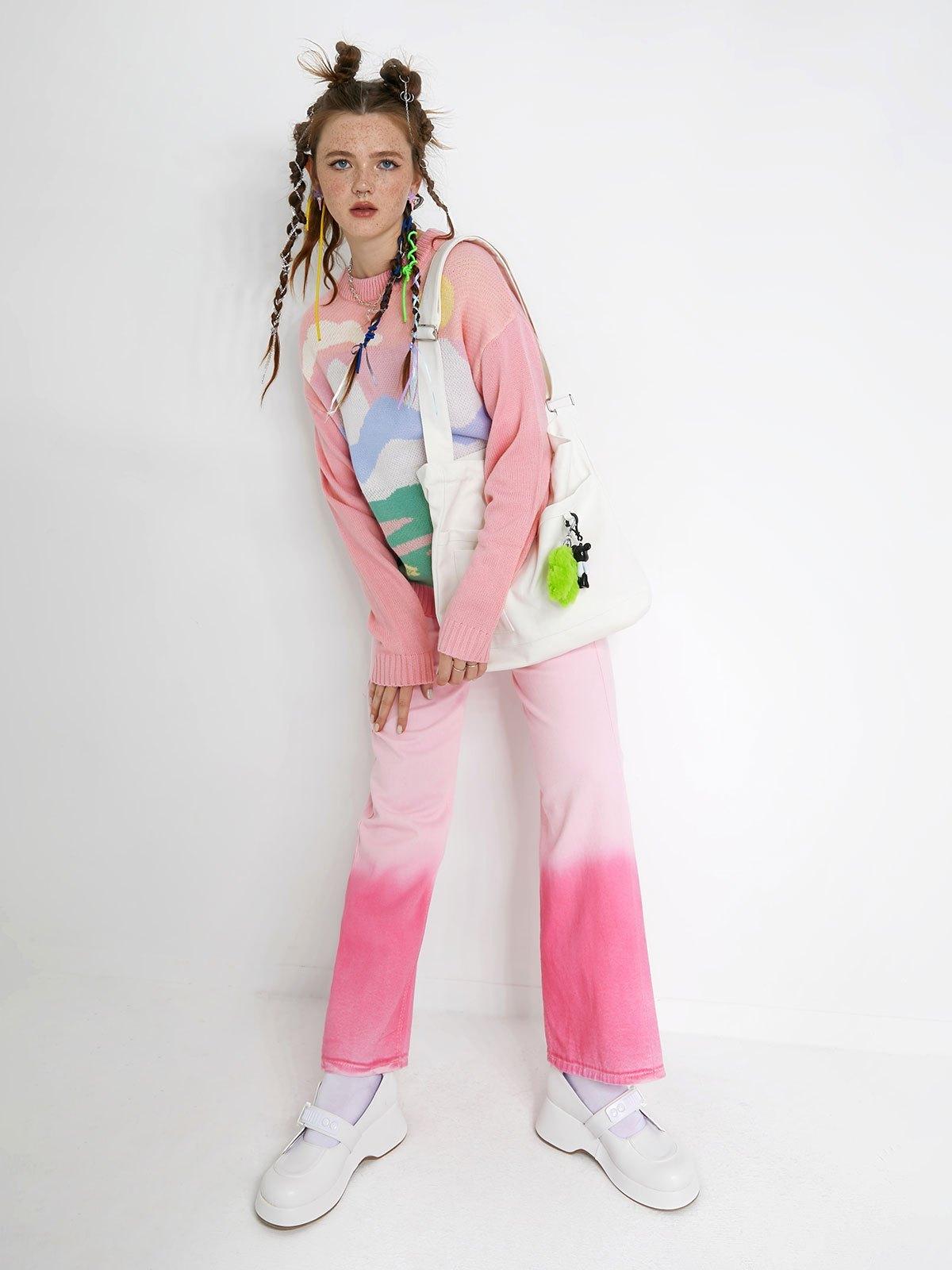 Cartoon Pattern Jumper Sweater - Pink ONE SIZE