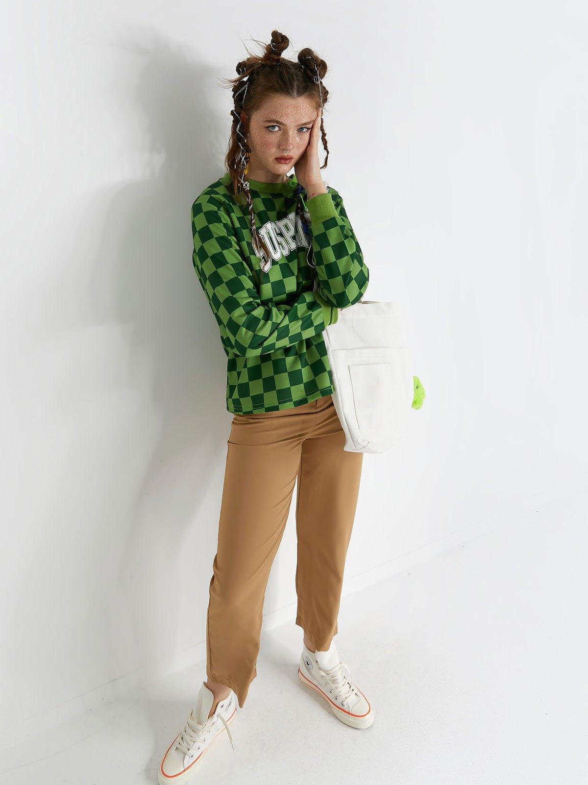 Checkered Letter Print Crew Sweatshirt - Green L