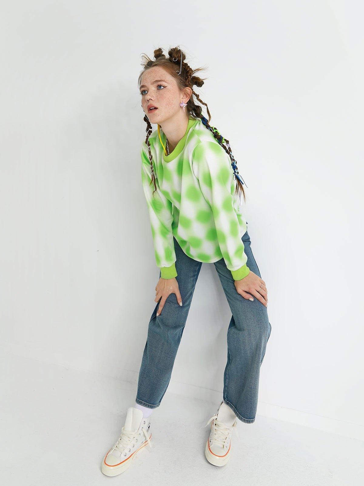 Tie Dye Bear Print Sweatshirt - Green L